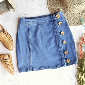 Free People Size 12 Button Skirt